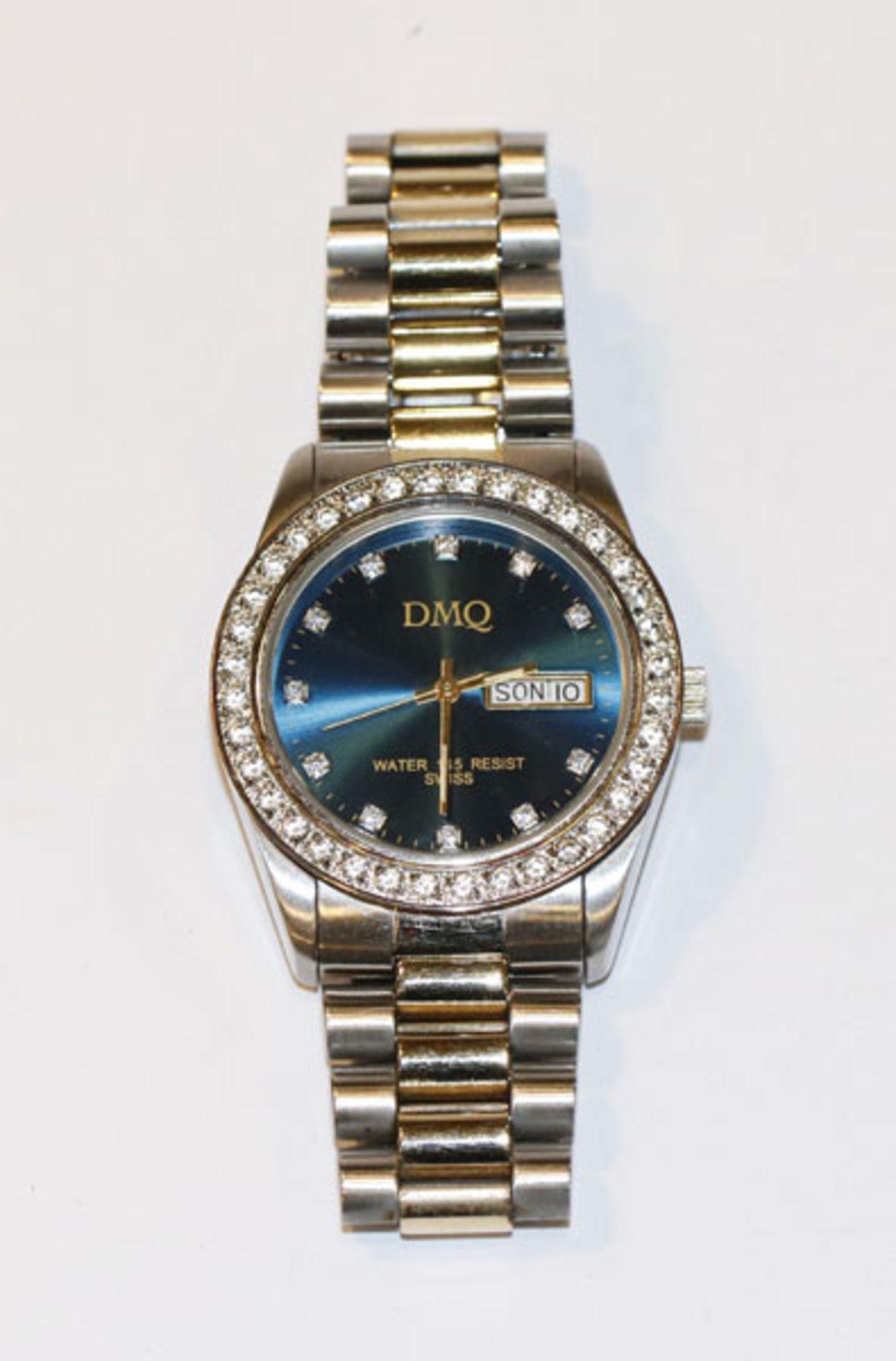 DMQ Herren Armbanduhr, Stahl mit Tag und Datumsanzeige, blaues Zifferblatt, leichte Tragespuren