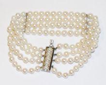 Perlen-Armband, 4-reihig mit Silberschließe, L 16 cm