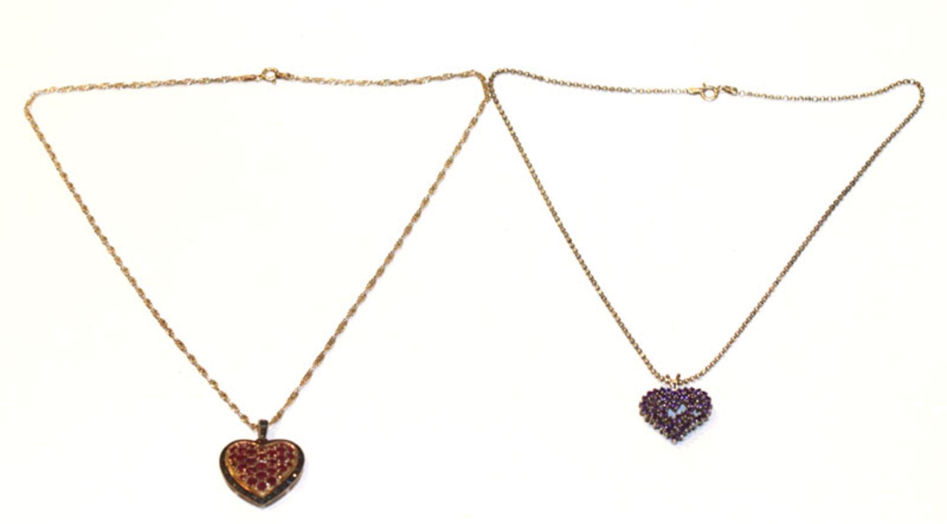 2 Silber Herzanhänger mit Farbsteinen an Silberketten, L 42/48 cm