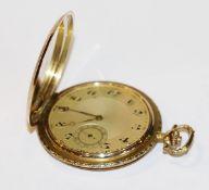 14 k Gelbgold Sprungdeckel-Taschenuhr mit graviertem Dekor, ohne Monogrammgravur, Staubdeckel kein
