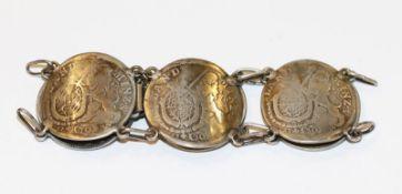 Silber Armband aus 6 x 30 Kreuzer um 1733, 43 gr., L 18 cm, getragen