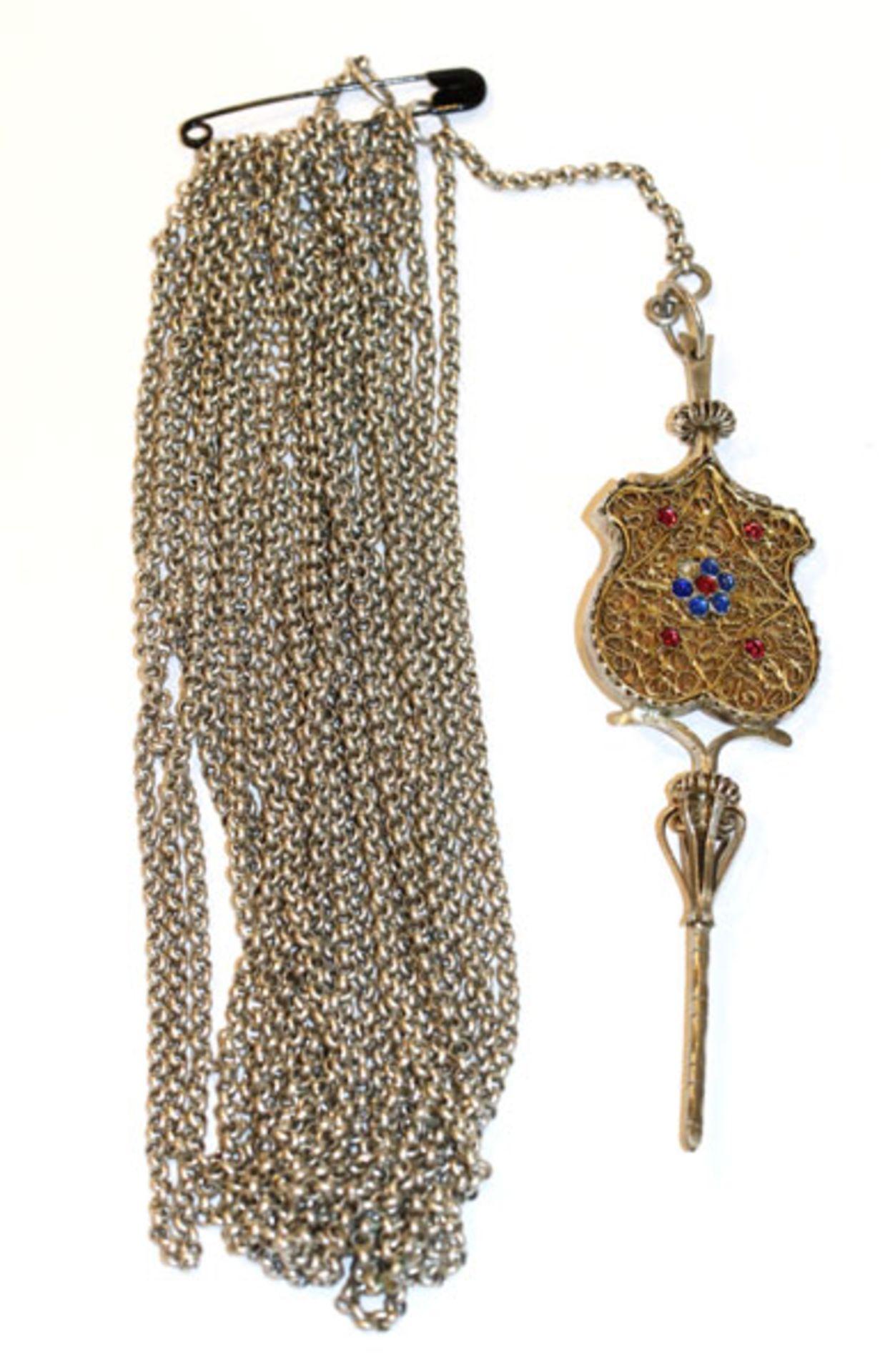 Silber Schnürkette, L 280 cm, und Miederstecker mit filigraner Verzierung, L 14 cm, 176 gr