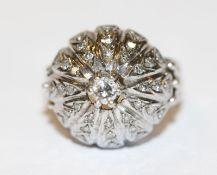 14 k Weißgold Ring mit Diamanten, 8,4 gr., Gr. 52, schöne Handarbeit