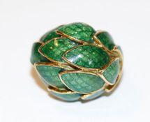 18 k Gelbgold Designer Ring mit grün emailliertem Blattdekor, Gr. 54, 16,6 gr., ausgefallene