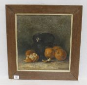 Gemälde ÖL/Malkarton 'Stillleben mit Orangen', gerahmt, Altersspuren, incl. Rahmen 55,5 cm x 51,5