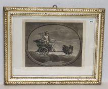 Stich um 1800 'Mercurio', mit Passepartout unter Glas gerahmt, Rahmen bestossen, incl. Rahmen 51