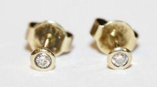 Paar 14 k Gelbgold Diamant-Ohrstecker