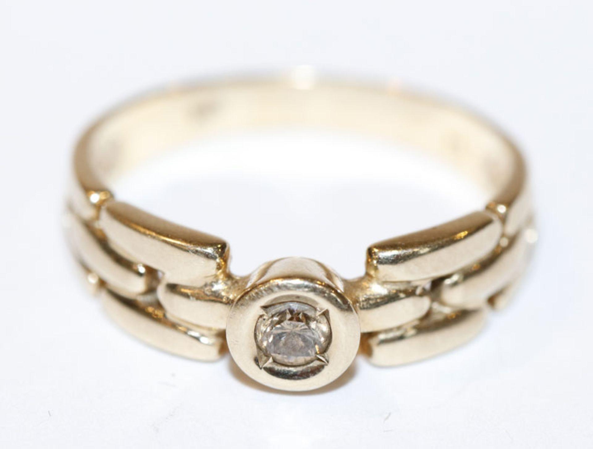 14 k Gelbgold Ring mit braunem Diamant, 4,1 gr., Gr. 57