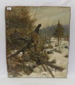 Gemälde ÖL/LW 'Auerhähne in Winterlandschaft', undeutlich signiert, ohne Rahmen 71 cm x 61 cm