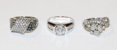 3 Modeschmuck Silberringe mit Glassteinen, Gr. 62, 64 und 66