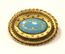 14 k Gelbgold Brosche mit hellblau/goldenem Emaildekor, 19. Jahrhundert, schöne Handarbeit, 9,4 gr.,