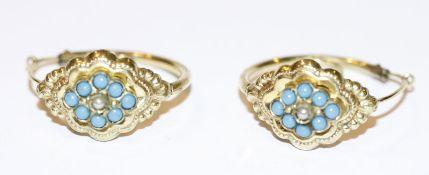 Paar Doublé Trachten-Creolen mit hellblauen Glasperlen, D 2,3 cm