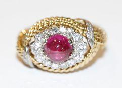 18 k Gelbgold Ring in Kordeldekor mit Rubin und in Weißgold gefaßten Diamanten, Gr. 58, 8,8 gr.,