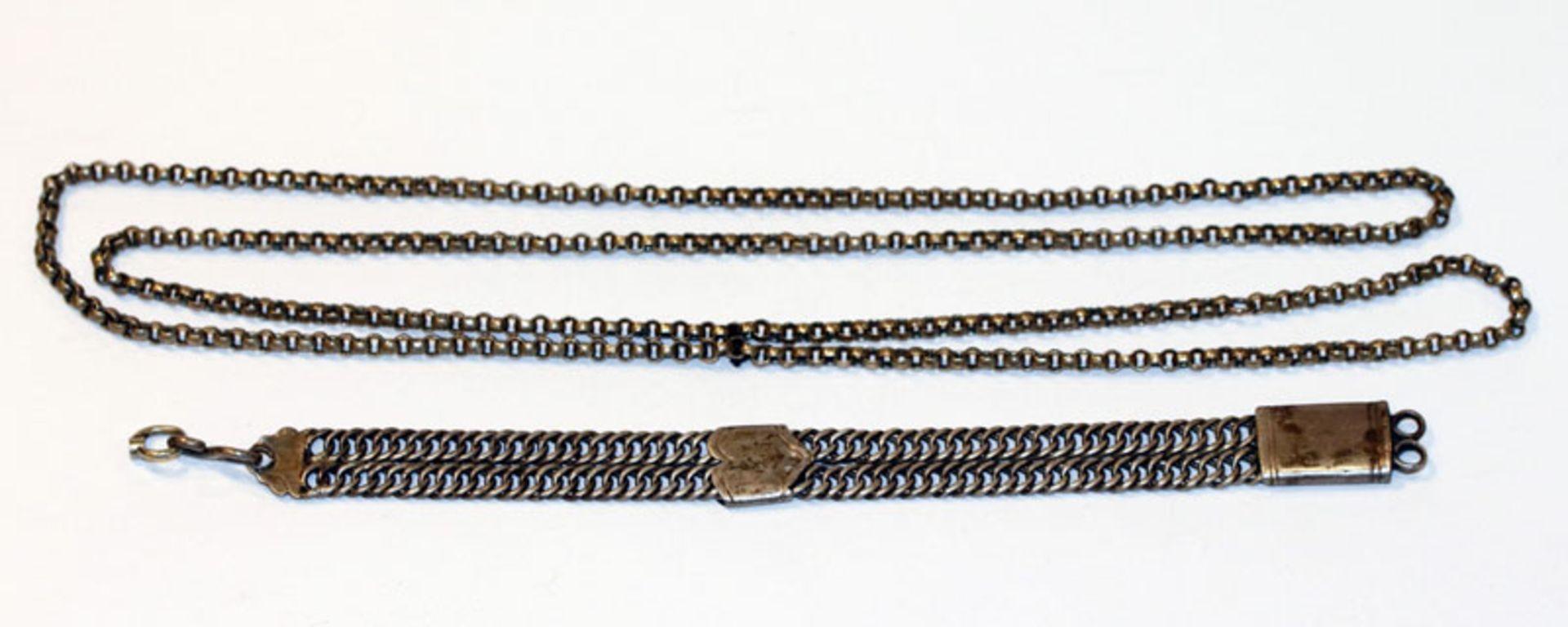 Antike Silber Uhrenkette, nicht komplett, L 20 cm, und Erbsenkette, L 100 cm, 19. Jahrhundert,