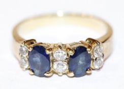 18 k Gelbgold Ring mit 2 Safiren und 6 Diamanten, 4,4 gr., Gr. 50