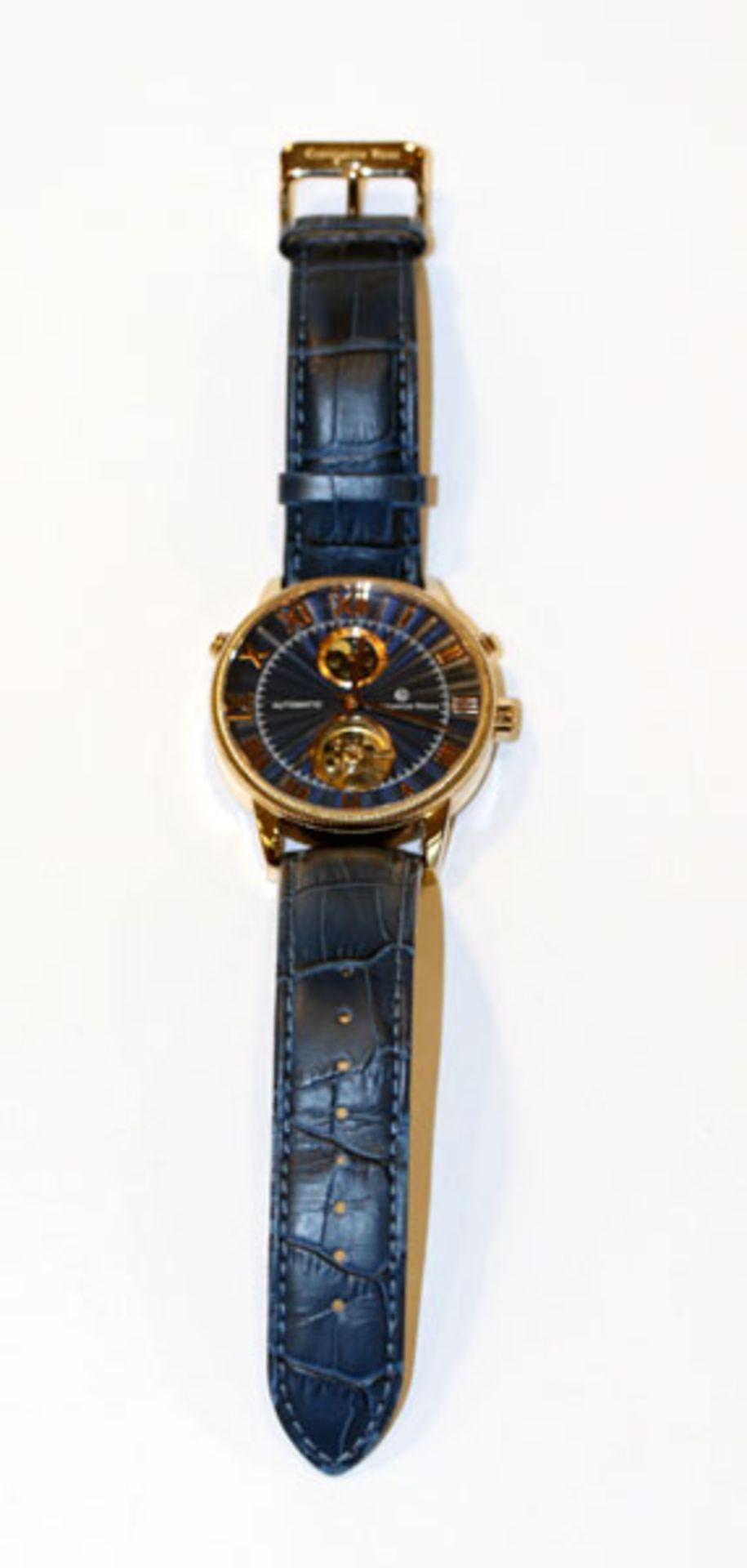 Constantin Weisz Armbanduhr, Automatic, blaues Zifferblatt und Armband, mit Bedienungsanleitung,