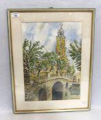 Aquarell 'Garnisionskirche Potsdam', signiert Adalbert Ferrot, mit Passepartout unter Glas