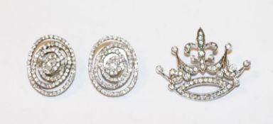 Paar Silber Modeschmuck Ohrclips, 2 cm x 2,5 cm, und Silber Modeschmuck Brosche/Anhänger in