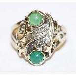 14 k Gelbgold Designer Ring mit grünen Farbsteinen, 4,8 gr., Gr. 52