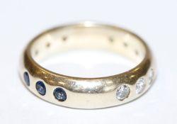 14 k Gelbgold (geprüft) Bandring mit 6 Diamanten, 3 Smaragden und 3 Safiren, 5,9 gr., Gr. 53