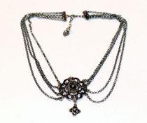 Silber Trachten-Kropfketten, 4-reihig, L 36 cm