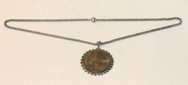 Maria Theresienthaler, gefaßt, an Kette, L 58 cm