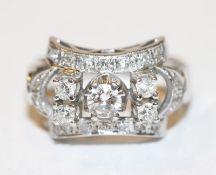 14 k Weißgold Ring mit 23 Diamanten, Gr. 52, ausgefallene Handarbeit