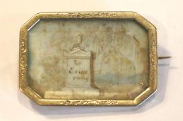 Antike Brosche, Rahmen 14 k Gelbgold (geprüft), feine Elfenbeinmalerei mit Aufschrift 'Zur