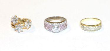 2 Sterlingsilber/vergoldete Ringe mit Glassteinen, Gr. 57/63 und ein Sterlingsilber Ring mit