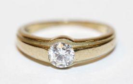 8 k Gelbgold Ring mit Zirkon, Gr. 51