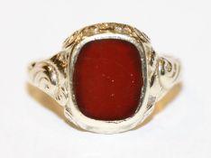 8 k Gelbgold Ring mit Carneol, Gr. 58