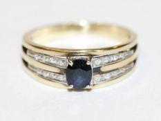 14 k Gelbgold (geprüft) Ring mit Safir und Diamanten, 4,2 gr., Gr. 57