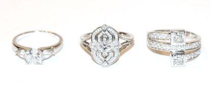 3 dekorative Sterlingsilber Ringe mit Glassteinen, Gr. 62/66