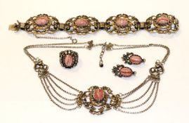 Silber Schmuck-Set mit Rhodochrosit: Collierkette, L 40 cm, Armband, L 19 cm, Paar Ohrhänger, l 3