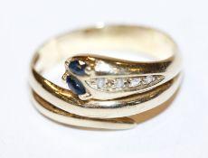 14 k Gelbgold Schlangenring mit 2 Safiren und 4 Diamanten, 4,3 gr., Gr. 57
