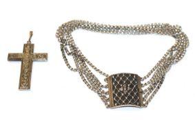 Silber Kropfkette, 5-reihig, L 33 cm, und Silber Kreuz-Anhänger, L 7,5 cm