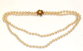 Endlos Perlenkette, L 98 cm, mit Silber/vergoldetem Perlenclip in Blütenform mit Perlen und 6
