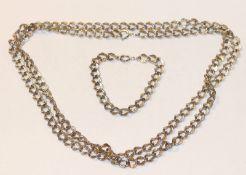 Lange 835 Silber Kette, L 120 cm, und passendes Armband, L 18 cm, mit gravierten Gliedern, 111 gr.
