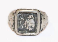 Silber Antoni-Ring mit reliefiertem Bildnis des Hl. Antonius, Gr. 56, Tragespuren