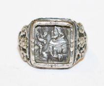 Silber Antoni-Ring mit reliefiertem Bildnis des Hl. Antonius, Gr. 54, Tragespuren