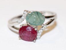 Silber Ring mit Rubin und Smaragd, Gr. 59