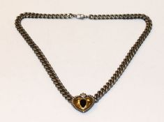 Silber Collierkette, Flachpanzer Kette mit teils vergoldetem Herz und Granat, L 38 cm