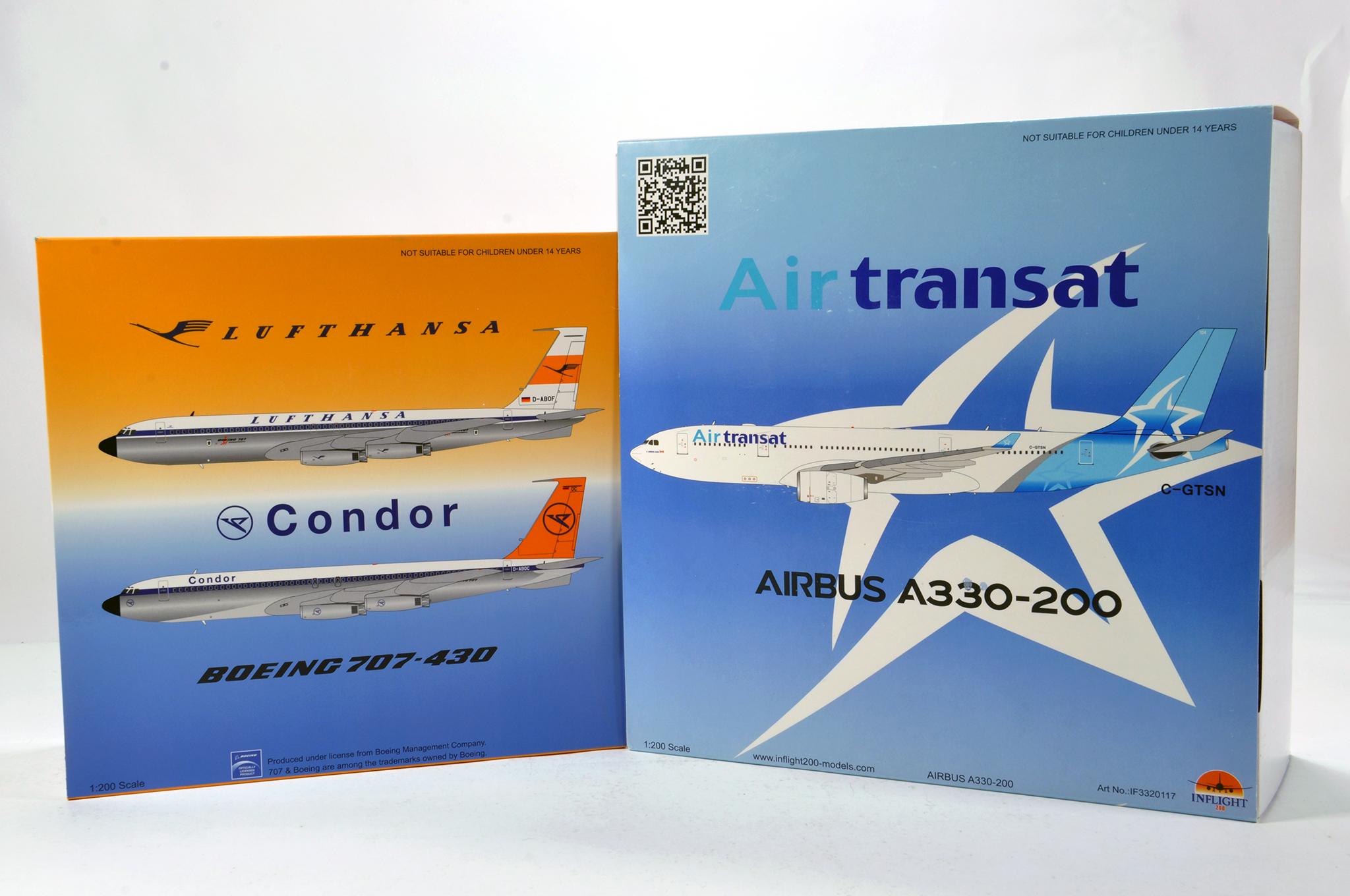 Lot 48 - Inflight Models 1/200 Diecast Aircraft Models comprising Boeing 707 plus Airbus A330 Air Transat.