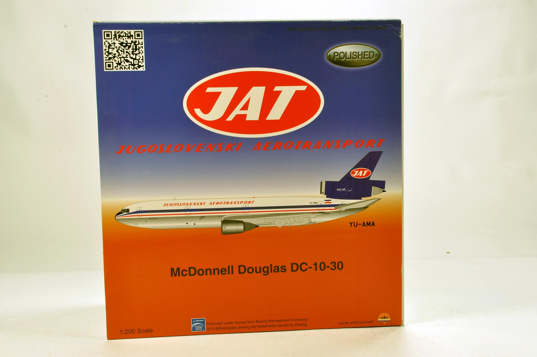 Lot 28 - Inflight Models 1/200 Diecast Aircraft Models comprising McDonnell Douglas DC10 JAT. Graded ex