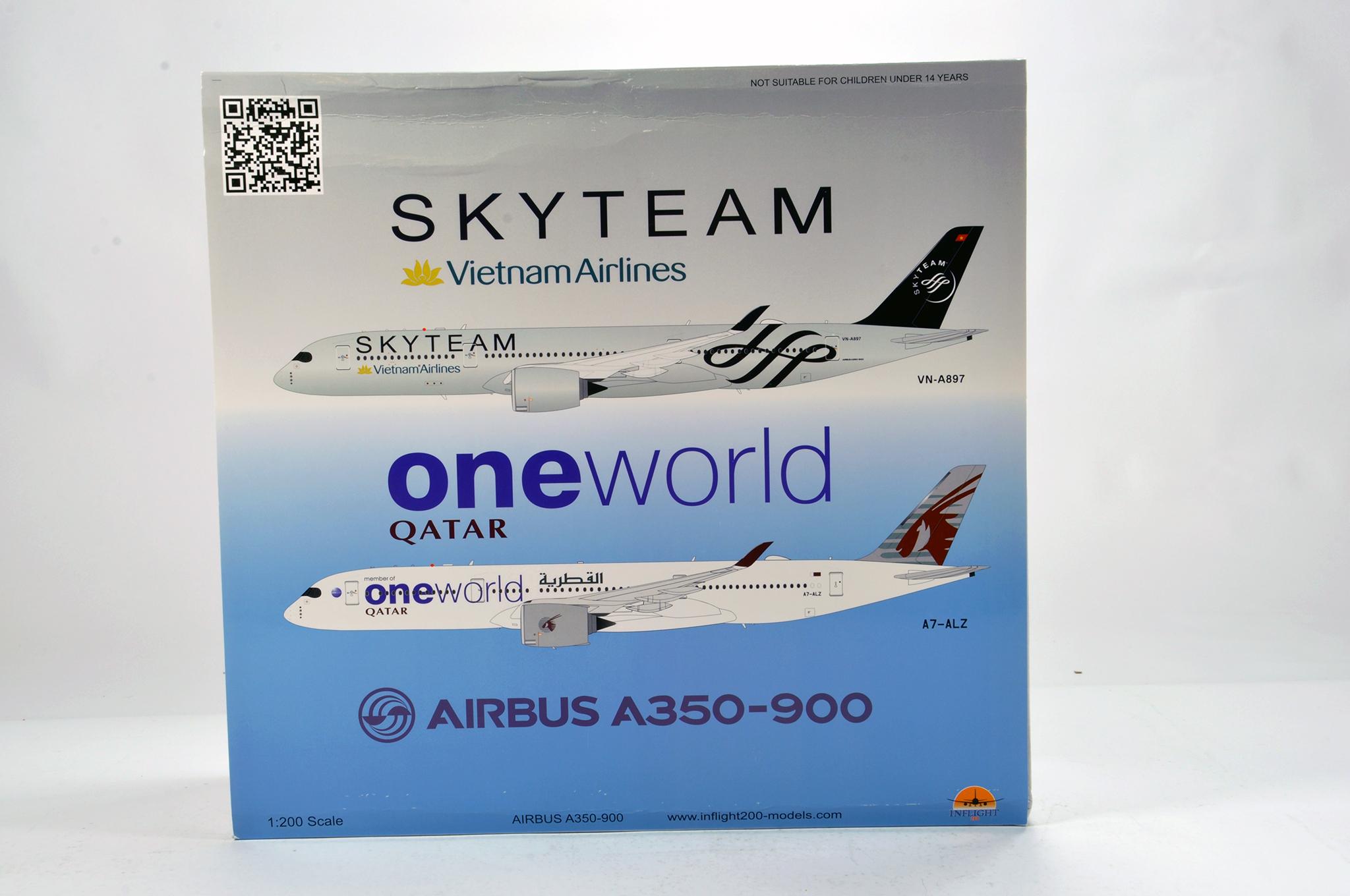 Lot 46 - Inflight Models 1/200 Diecast Aircraft Models comprising Airbus A350-900. Graded ex shop stock. A to