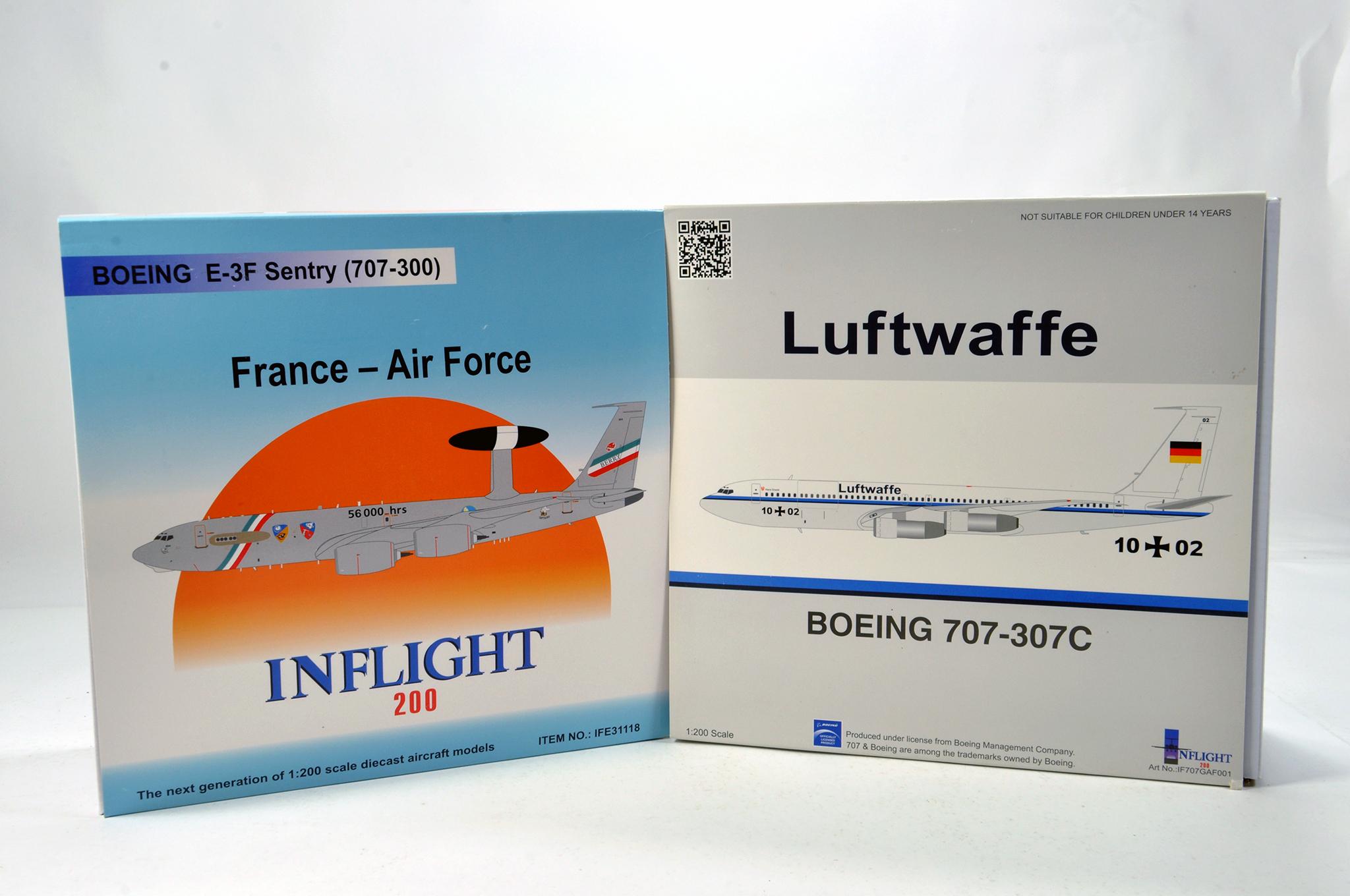 Lot 33 - Inflight Models 1/200 Diecast Aircraft Models comprising Boeing 707-307C Luftwaffe plus Boeing E-