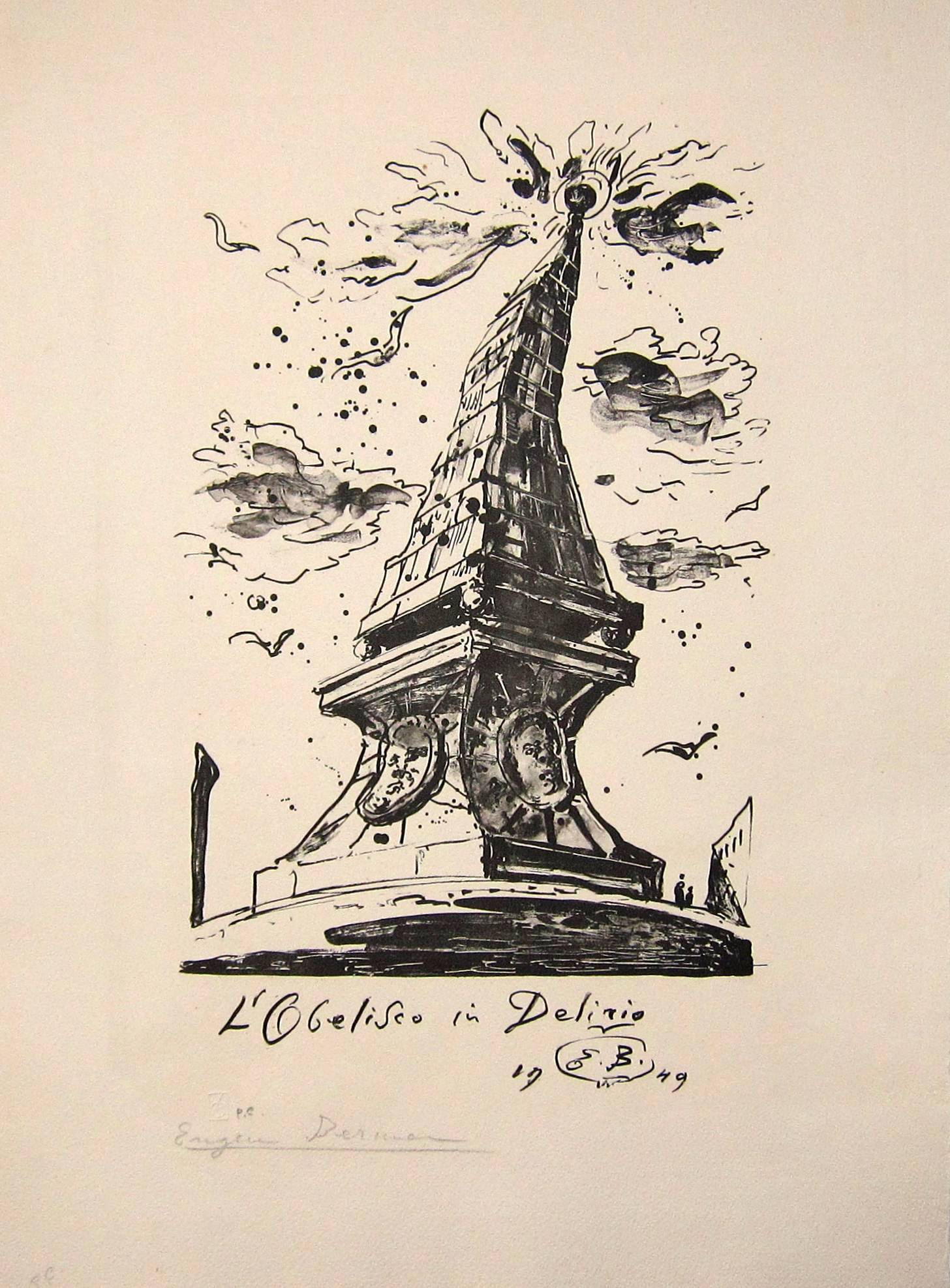 Lot 52 - EUGENE BERMAN [1899-1972]. Obelisk in Delirio, 1949. lithograph, edition of 25, artist's proof.