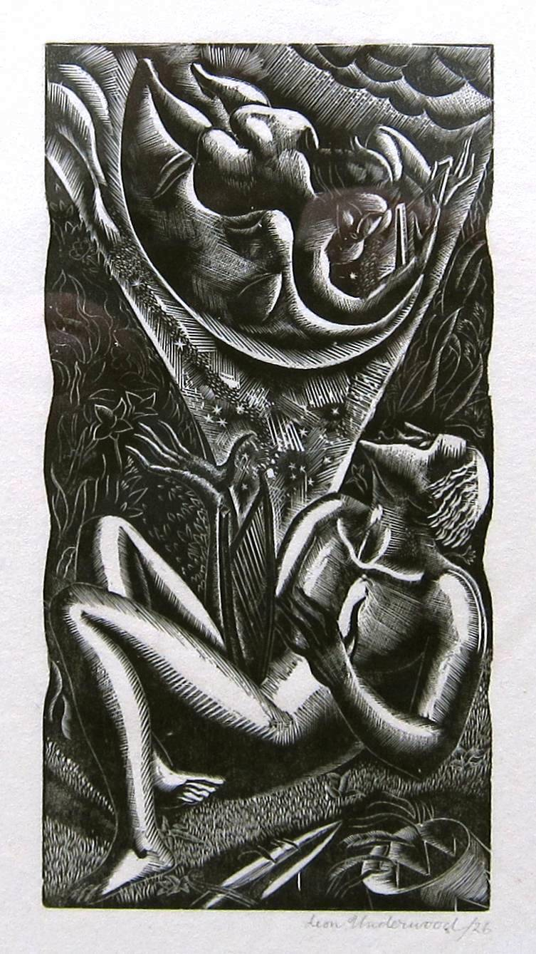 Lot 46 - LEON UNDERWOOD [1890-1975]. Figure Looking Up [Music From Behind the Moon], 1926, wood-engraving,