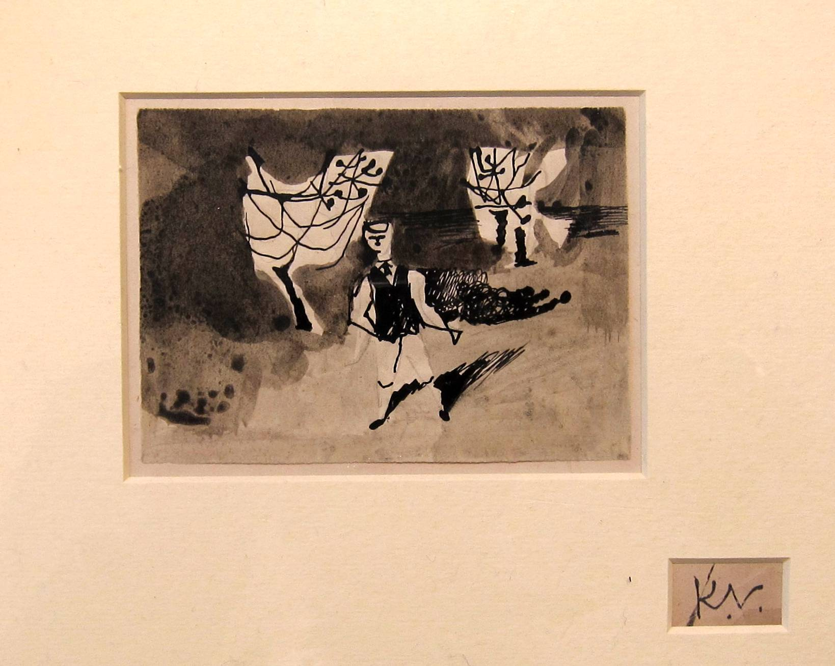 Lot 60 - KEITH VAUGHAN [1912-77]. Figures in an Orchard, 1943. ink & watercolour. studio stamp initial bottom