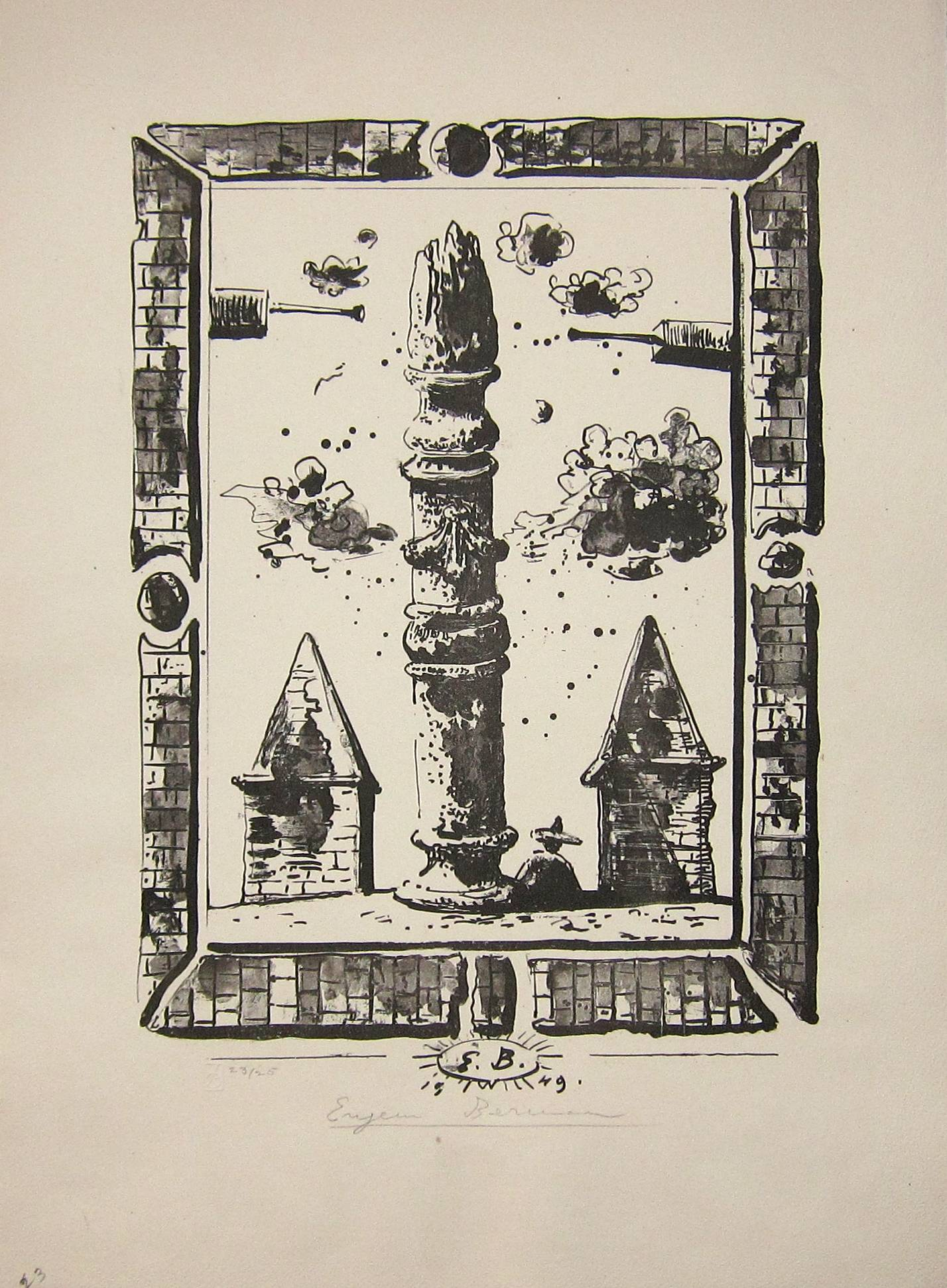 Lot 53 - EUGENE BERMAN [1899-1972]. Flaming Column, 1949. lithograph, edition of 25 [23/25], signed in